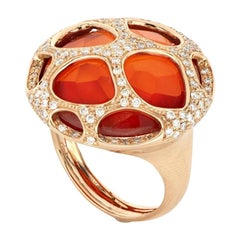 18 Kt Rose Gold Portofino Big Ring with Diamonds