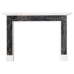Portoro and Carrara Marble Fireplace
