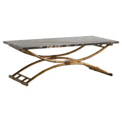 Portoro Black Marble Coffee Table with Gold Bamboo Base