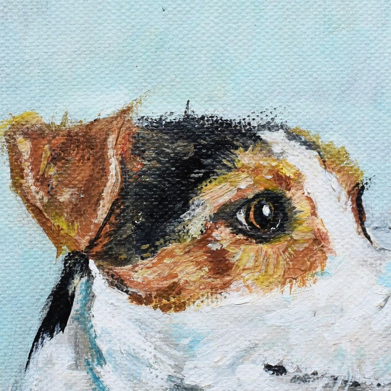 Bohemian Portrait Animal Painting of a Dog on Canvas in Blue Signed Outsider Art Signed For Sale