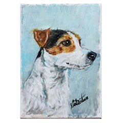 Portrait Animal Painting of a Dog on Canvas in Blue Signed Outsider Art Signed