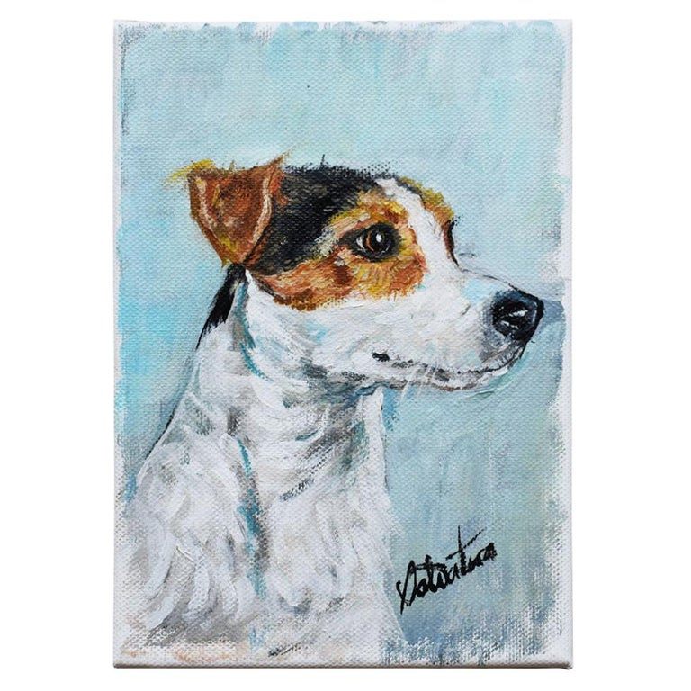 Portrait Animal Painting of a Dog on Canvas in Blue Signed Outsider Art Signed For Sale