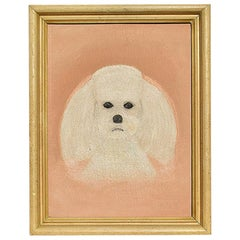 Portrait Animal Painting of a White Dog on a Pink Background, Outsider Art