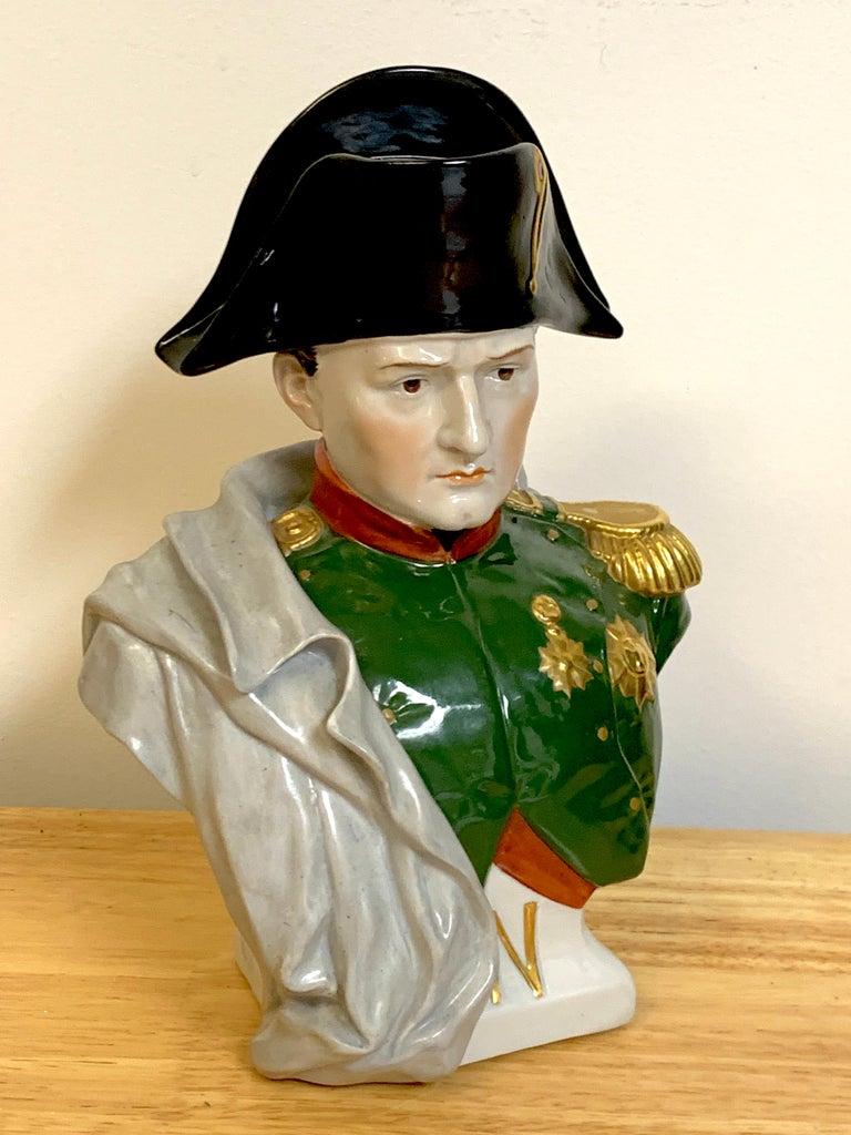 Hand-Painted Portrait Bust of Napoleon Bonaparte, by Sitzendorf For Sale