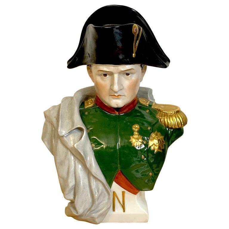 Portrait Bust of Napoleon Bonaparte, by Sitzendorf For Sale