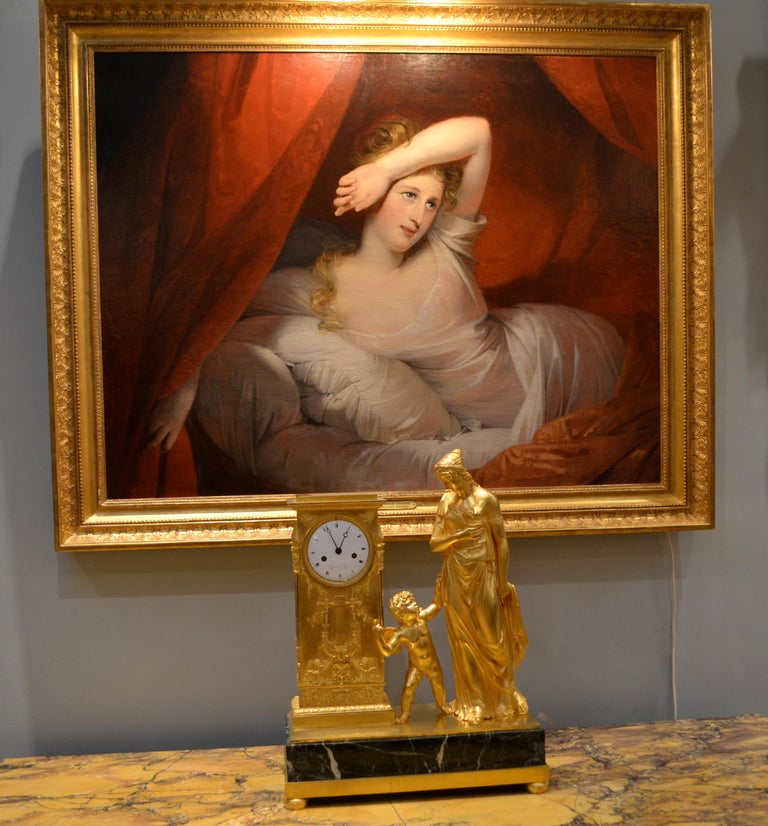 Canvas Oil Painting entitled 'Le Reveil' by Claude-Marie Dubufe For Sale