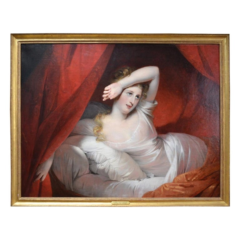 Oil Painting entitled 'Le Reveil' by Claude-Marie Dubufe For Sale