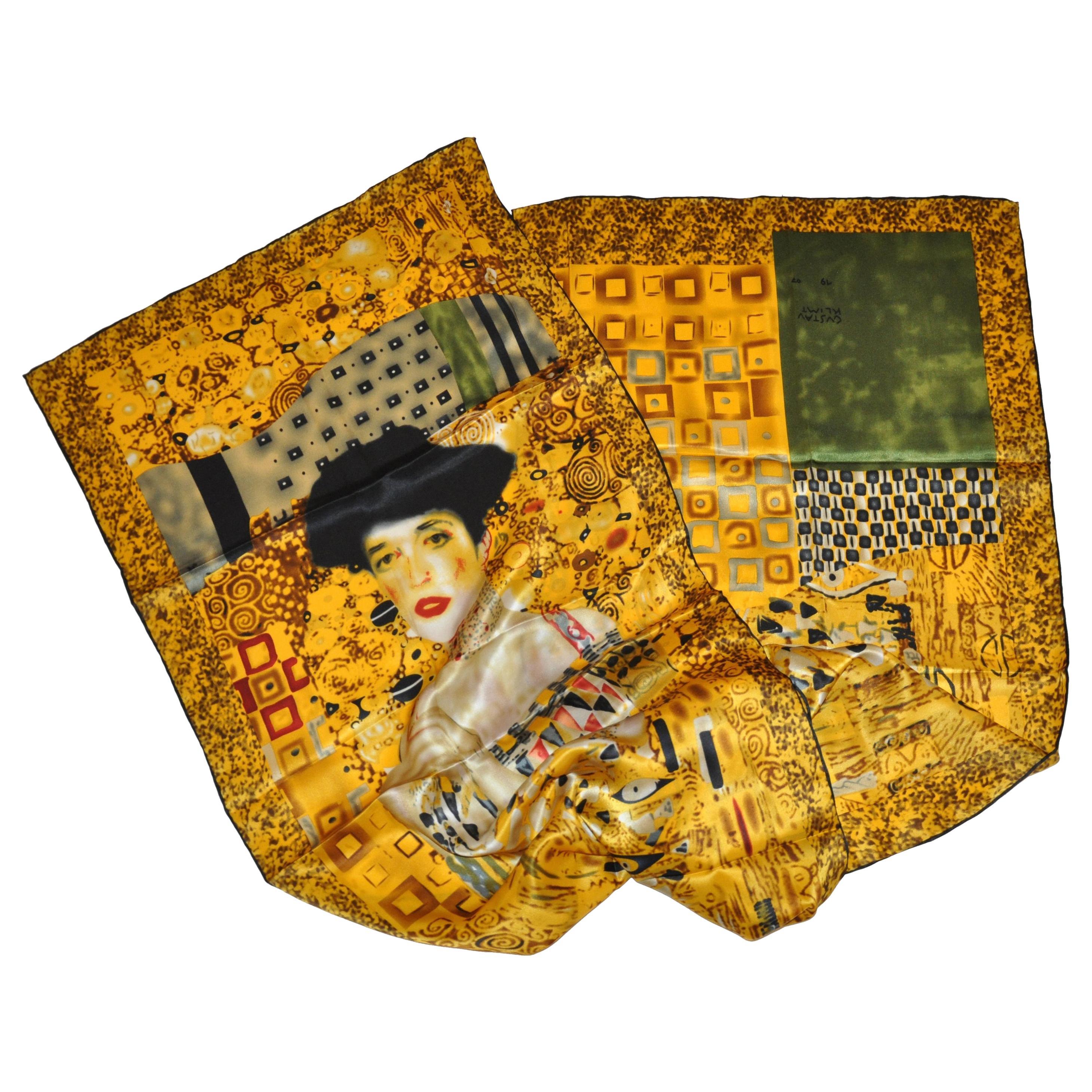 """Portrait by GVSTAN KLIMT"" Silk Scarf with Hand-Rolled Edges"