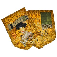 """Portrait by GVSTAN KLIMT"" Silk Scarf with Hand-Rolled Edges"