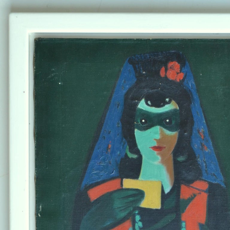 Expressionist portrait of purple veiled and masked women in intense and non-naturalistic colors blue, green and red holding a yellow card in one hand and fan in the other. Oil painting on canvas made in 1946 by Czech artist Franz Cižek (signed) born