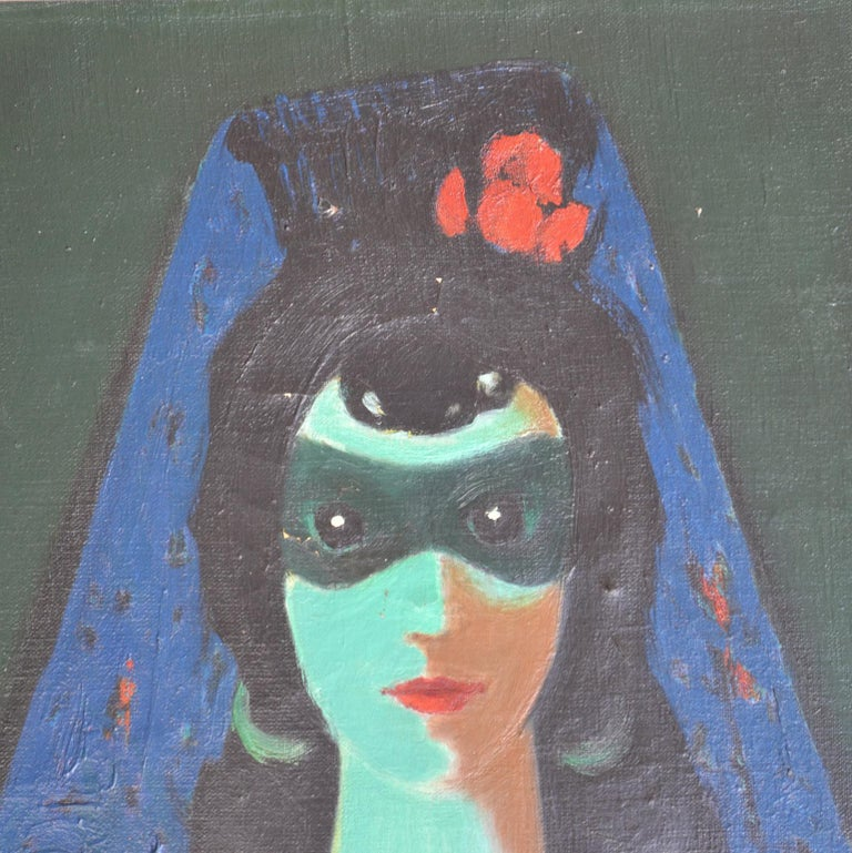 Portrait Colorful Oil Painting of Mystical Women by Franz Cižek Czech, 1946 In Good Condition For Sale In London, GB