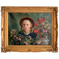 Portrait Girl Amongst Flowers, by Marion Henseler
