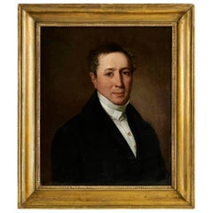Portrait in Oil on Canvas of an Elegant Man from the 19th Century