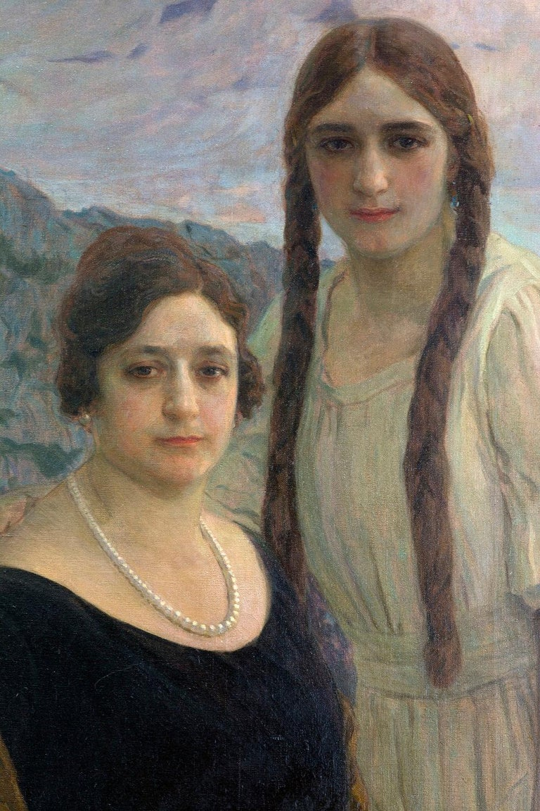 "Modern Portrait ""Ladies on a Landscape"" Oil on Canvas, Signed and Dated 1920 For Sale"