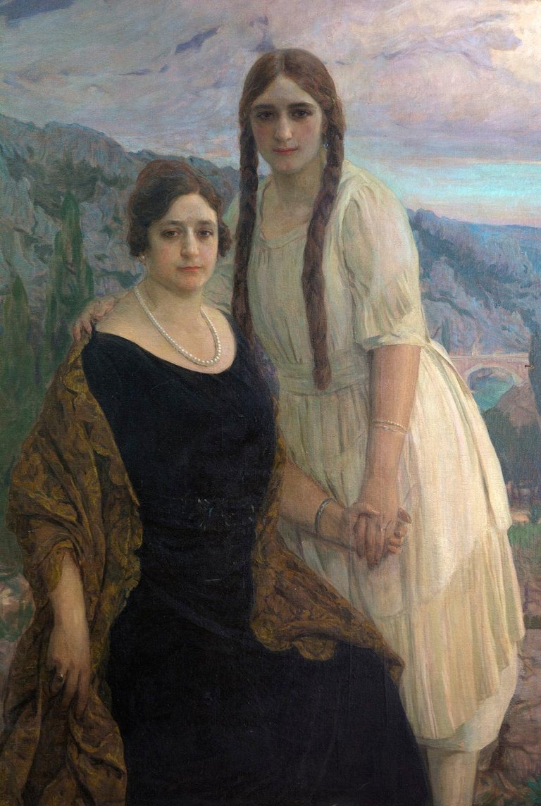 "Portrait ""Ladies on a Landscape"" Oil on Canvas, Signed and Dated 1920 In Excellent Condition For Sale In Madrid, ES"