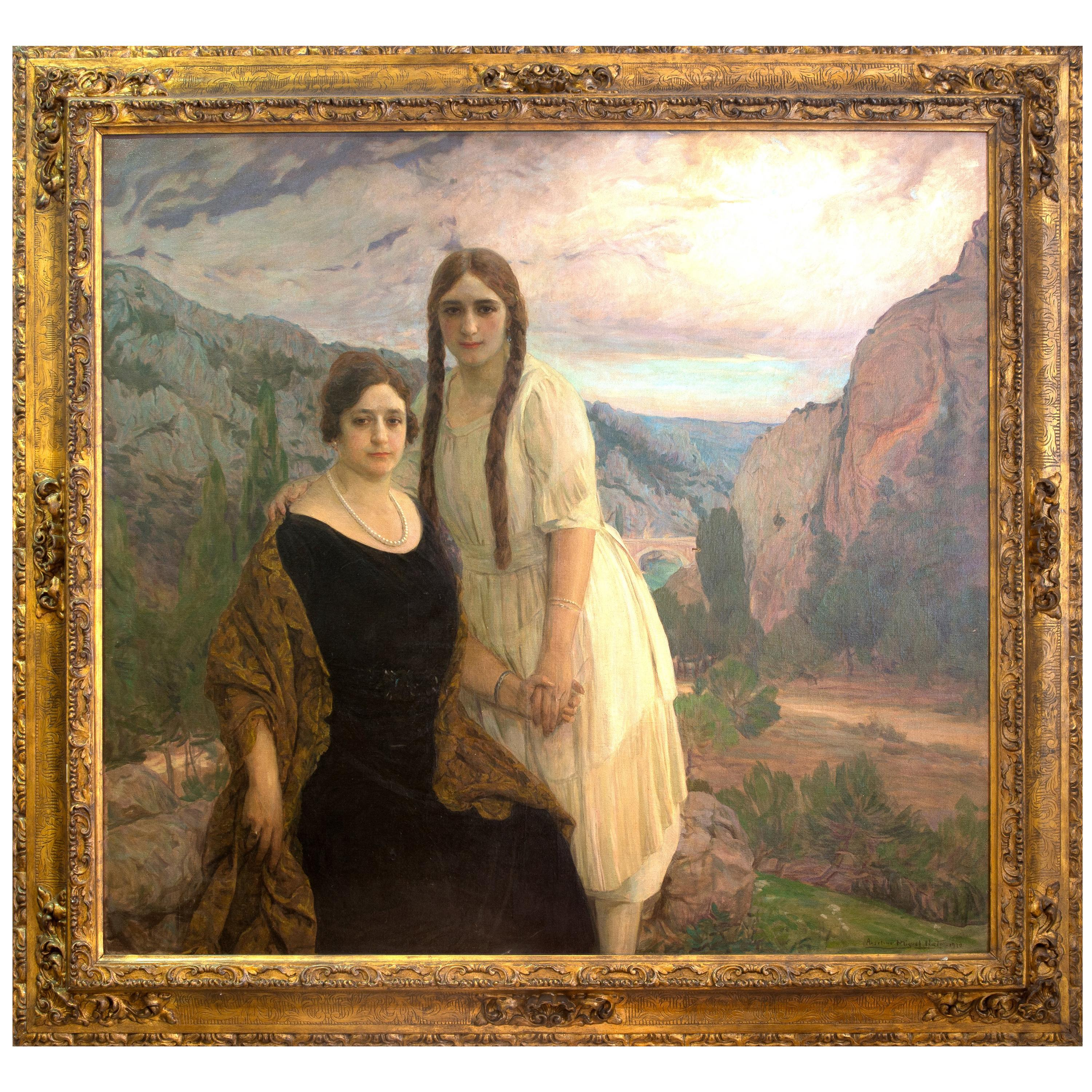 """Portrait """"Ladies on a Landscape"""" Oil on Canvas, Signed and Dated 1920"""