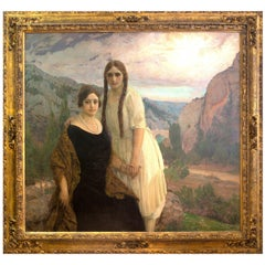 "Portrait ""Ladies on a Landscape"" Oil on Canvas, Signed and Dated 1920"