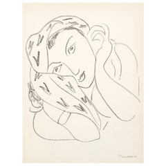 Portrait Lithograph in Paper after Original Matisse Drawing