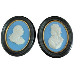 Portrait Medallions David Garrick & Sarah Siddons, Wedgwood, 19th Century