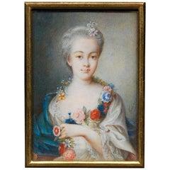 Portrait Miniature French School, ca.1775 Archduchess Maria Carolina of Austria