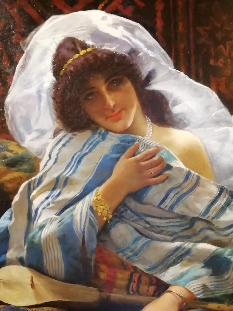 Portrait Odalisque, Giovanni Guida 19th Century Oil Orientalism Italian Painting In Good Condition For Sale In Rome, Italy