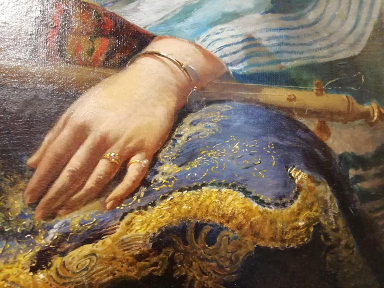 Portrait Odalisque, Giovanni Guida 19th Century Oil Orientalism Italian Painting For Sale 2