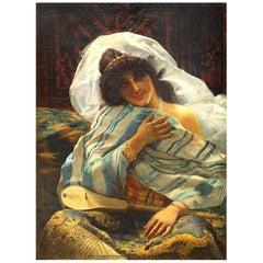 Portrait Odalisque, Giovanni Guida 19th Century Oil Orientalism Italian Painting