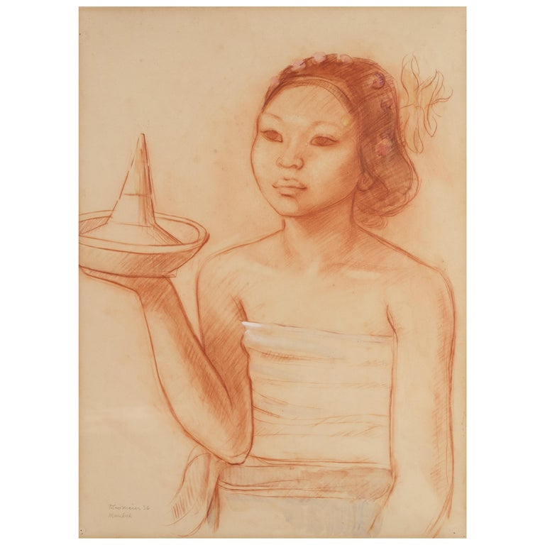 Portrait of a Balinese Beauty by Theo Meier in Original Frame For Sale