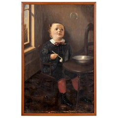 Portrait of a Boy Blowing Bubbles