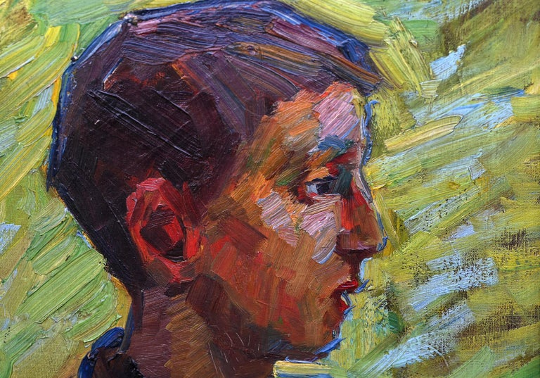 Portrait of a Boy , German about 1910, oil on Canvas signed W.T. In Good Condition For Sale In Epfach, DE