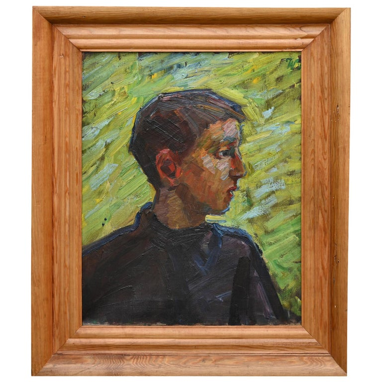 Portrait of a Boy , German about 1910, oil on Canvas signed W.T. For Sale