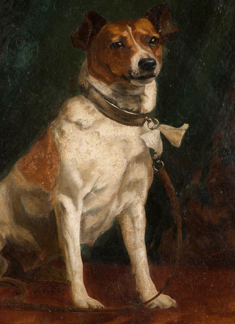 Romantic Portrait of a Fox-Terrier, 19th Century Oil Painting For Sale