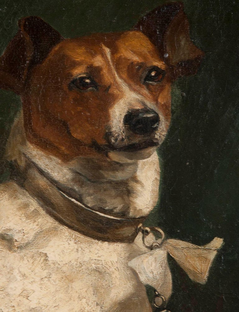 Belgian Portrait of a Fox-Terrier, 19th Century Oil Painting For Sale