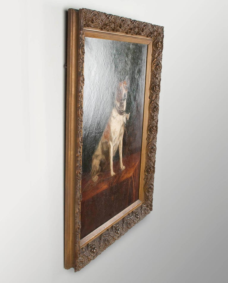Early 20th Century Portrait of a Fox-Terrier, 19th Century Oil Painting For Sale