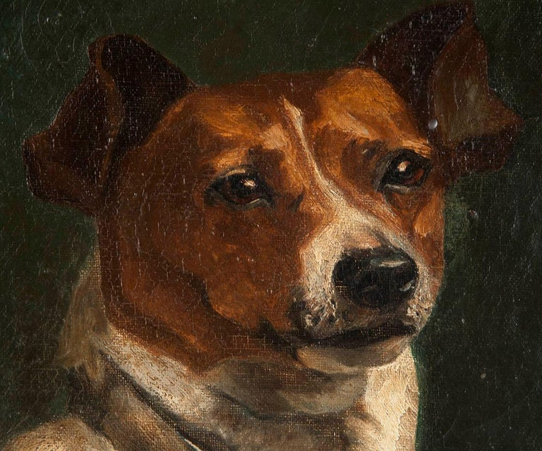 Portrait of a Fox-Terrier, 19th Century Oil Painting For Sale 2