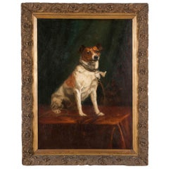 Portrait of a Fox-Terrier, 19th Century Oil Painting