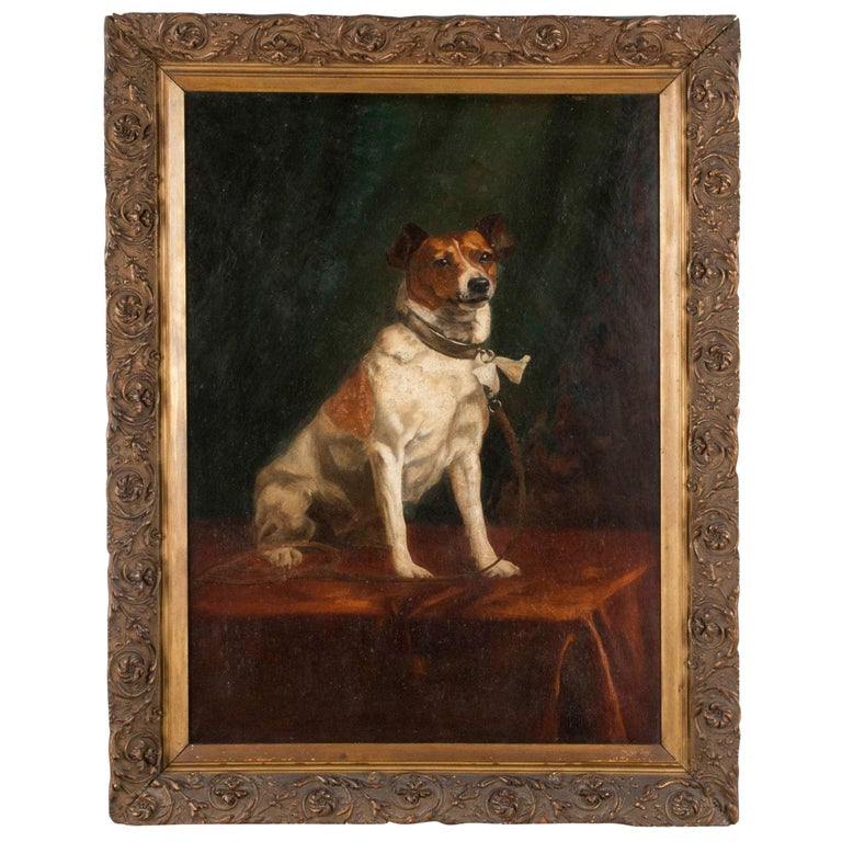 Portrait of a Fox-Terrier, 19th Century Oil Painting For Sale