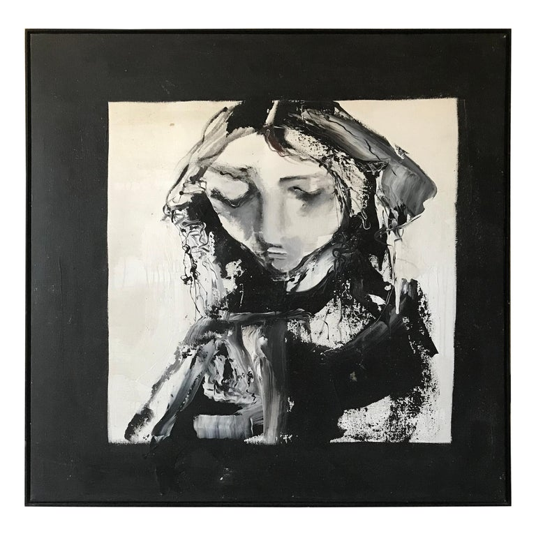 Portrait of a Girl by Gino Hollander, Oil on Canvas For Sale