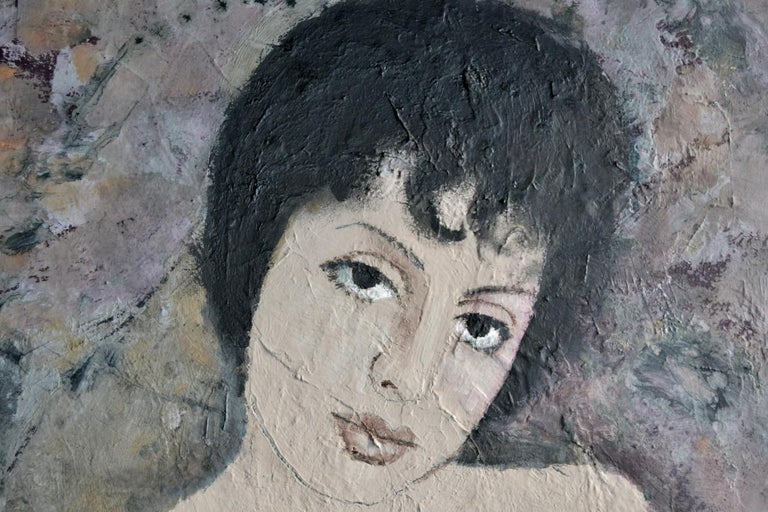 Portrait of a girl with dark hair, undated [circa 1964], oil on board, unsigned. Purchased from family by descent  Well framed.