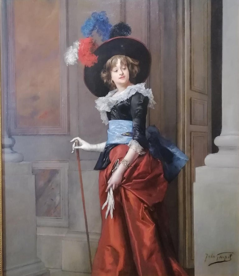 Jules Adolphe Goupil (Paris 1839 - Paris 1883) Portrait of lady Signed lower right: Jules Goupil  Of Parisian origin, Jules-Adolphe Goupil is the son of Marie-Élisabeth Havard and Pierre-Charles Goupil. He has an older brother, also a painter