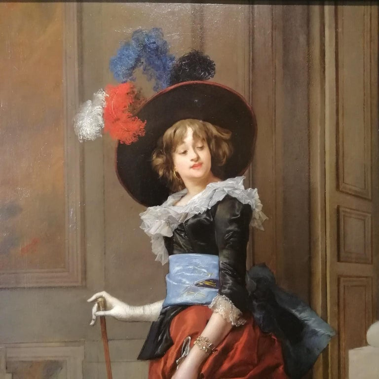 Portrait of a Lady, Jules Goupil Belle Epoque Oil on Wood French Painting 1870s In Good Condition For Sale In Rome, Italy