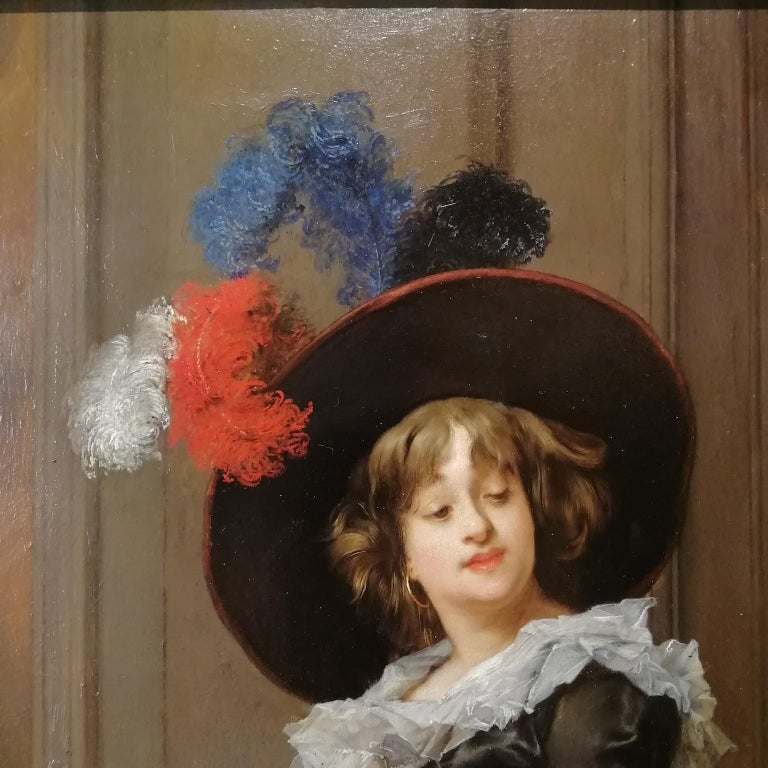 Late 19th Century Portrait of a Lady, Jules Goupil Belle Epoque Oil on Wood French Painting 1870s For Sale