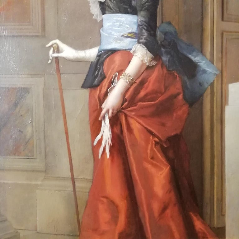 Portrait of a Lady, Jules Goupil Belle Epoque Oil on Wood French Painting 1870s For Sale 1