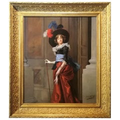 Portrait of a Lady, Jules Goupil Belle Epoque Oil on Wood French Painting 1870s