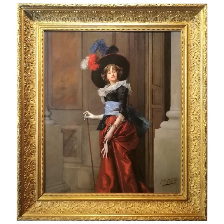 Portrait of a Lady, Jules Goupil Belle Epoque Oil on Wood French Painting 1870s For Sale