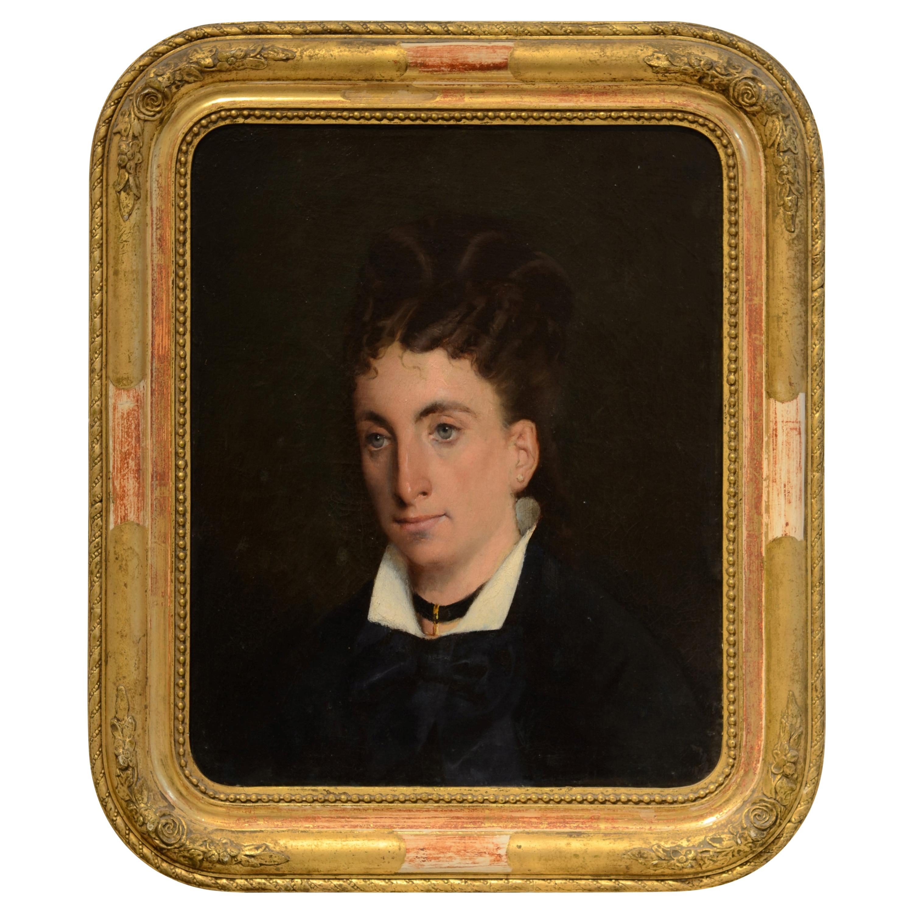 Portrait of a Lady, Oil on Canvas, 19th Century