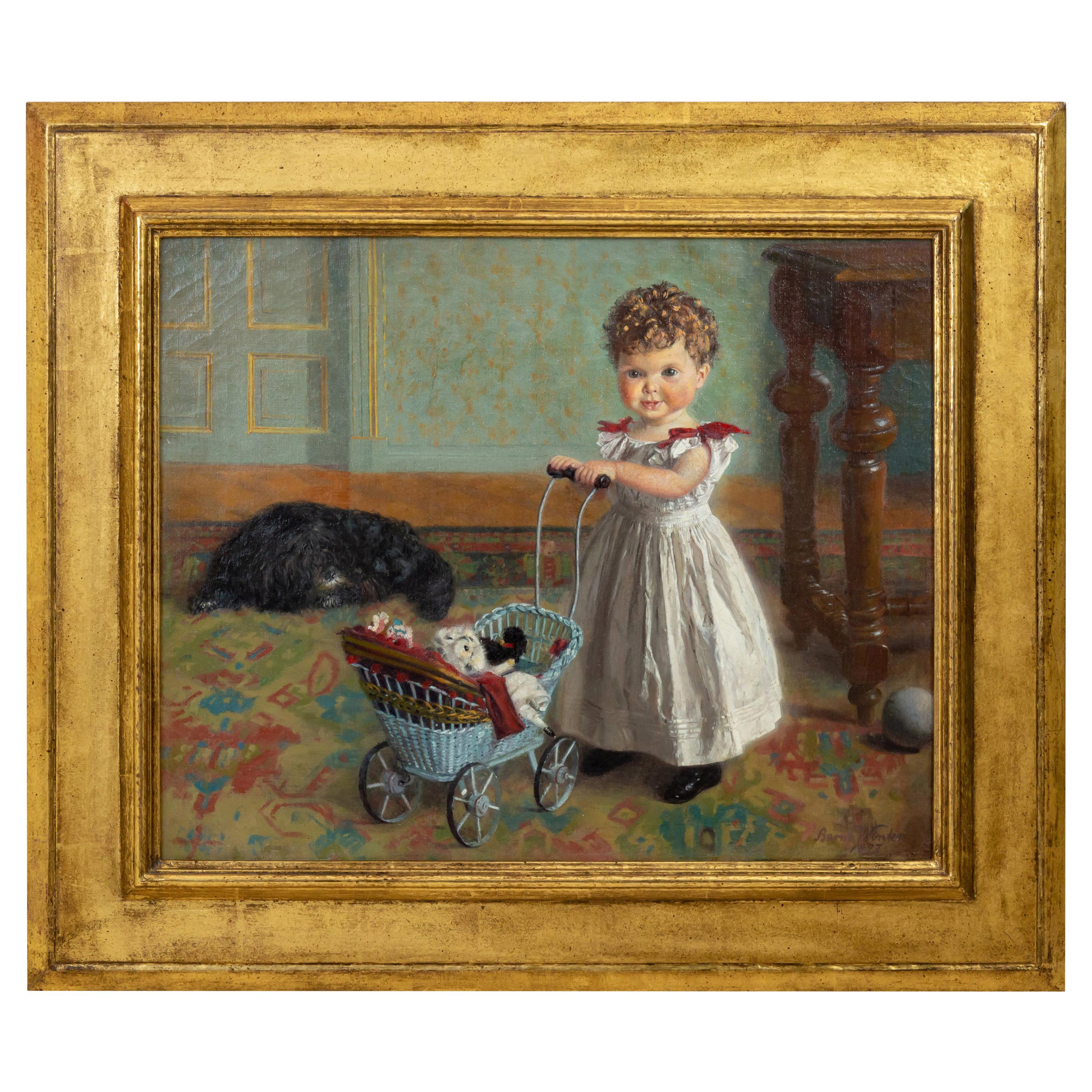 Portrait of a Little Girl in Interior, Oil on Canvas, 1897