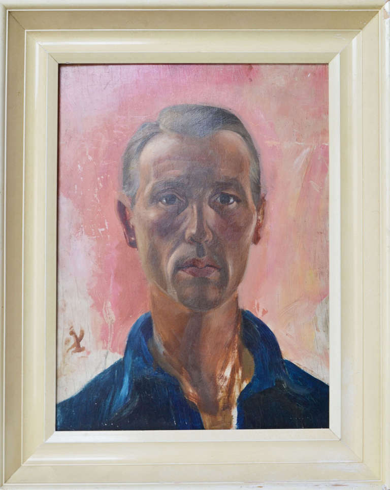 Realistic portrait on a man, oil painting on wood, Dutch, circa 1960s is signed.