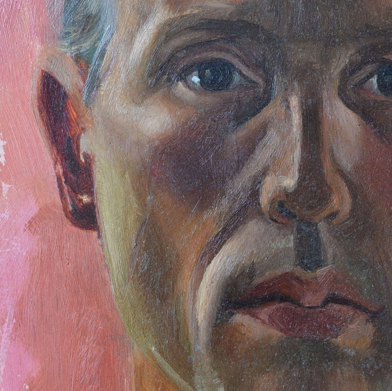 Mid-Century Modern Portrait of a Man, Dutch, 1960s Oil Painting For Sale
