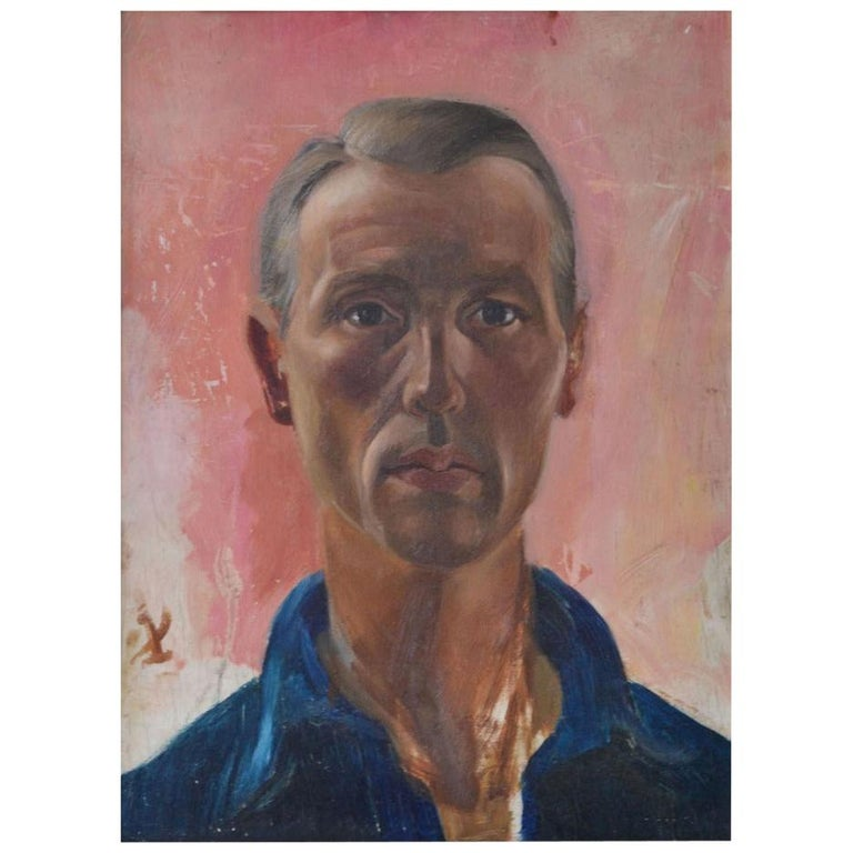 Portrait of a Man, Dutch, 1960s Oil Painting For Sale